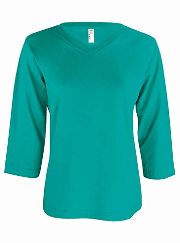 LAT Apparel Ladies 3/4 Sleeve Jersey Tee [X Large] Jade Green V-Neck (Lat Ribbed T-shirt)