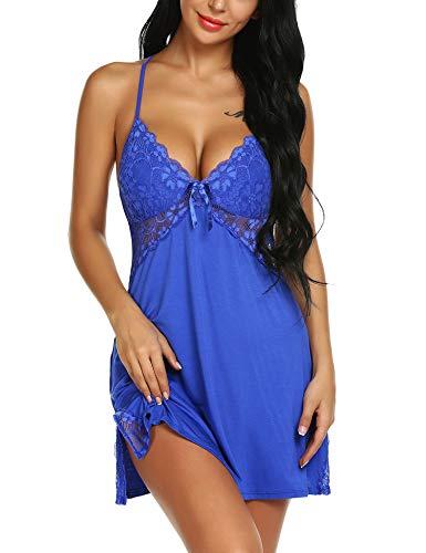71e021b62fe ... ARANEE Women Lingerie Sexy Chemise Nightie Lace Babydoll V Neck  Sleepwear Slip Dress Blue ...