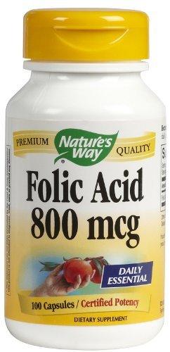 Natures Way Folic Acid 800 mcg 100 capsules. Pack of 3 bottles