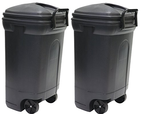 United Solutions TB0010 Rough and Rugged Rectangular 34 Gallon Wheeled Black Outdoor Trash Can with Hook&Lock Handle-Thirty Four Gallon Garbage Can with Locking Handles (2 Pack)