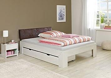 Cama futón (Jasmina L acolchado Cabecero Cama cajones Noche Consola L 140 x 200 cm L Roble Blanco: Amazon.es: Hogar