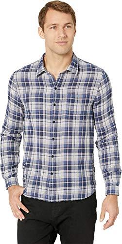 (John Varvatos Star U.S.A. Men's Double Weave Plaid/Small Check Slim Reversible Shirt Blue Topaz XX-Large)