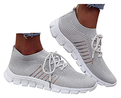 Womens Lace Up Sports Shoes Students Running Mesh Sneakers Slip On Soft Walking Socks Shoes by Gyounaime Gray