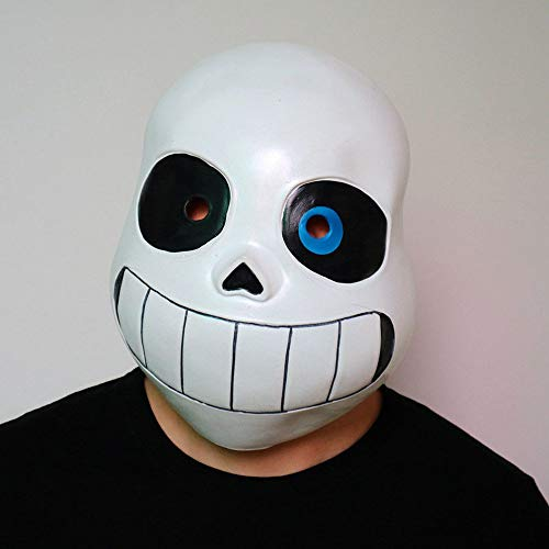 Cosplay Game Legend Undertale Sans Funny Latex Mask Halloween Prom Party Costume Full Face Headgear Prop (Blue Eyes, for Adult)
