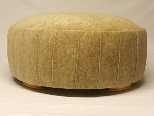 Versailles Round Ottoman (Camel Microfiber Suede) (Round Suede Ottoman Storage)
