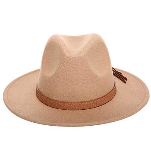 Fedora Hats Classic Timeless Wool Felt Hats Vintage Wide Brim Jazz Hat with Leather Belt for Men Women Khaki