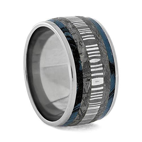 Mokume Gane, Gibeon Meteorite, Damascus 12mm Comfort Fit Titanium Band, Size 15.75