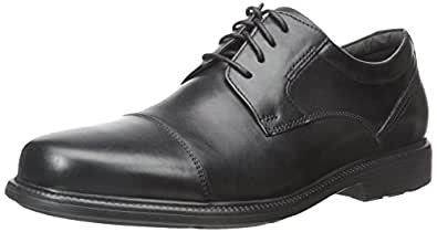 ROCKPORT Men's Charles Road Cap Toe Oxford Black Leather 6.5 W (EE)-6.5 W