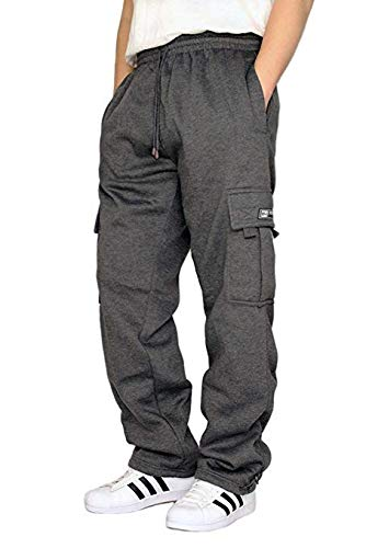DREAM USA Men's Heavyweight Fleece Cargo Sweatpants, Charcoal, X-Large