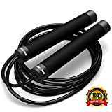 Ballistyx Jump Rope - Premium Speed Jump Rope with 360 Degree Spin, Steel Handles, Silicone Grips and 2 x Adjustable Cables - for Crossfit, Gym & Home Fitness Workouts & More - Black