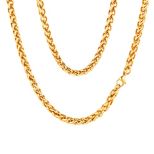 FaithHeart 3 MM Twisted Spiga Wheat Chain Necklace, 28 Inches 18K Gold Plated Daily Chains for Men/Women (with Gift Box)