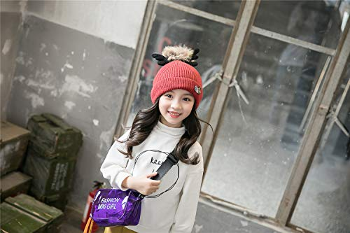 ACVIP Little Girl's Knit Pom Reindeer Antlers Winter Skull Cap (red) by ACVIP (Image #1)'