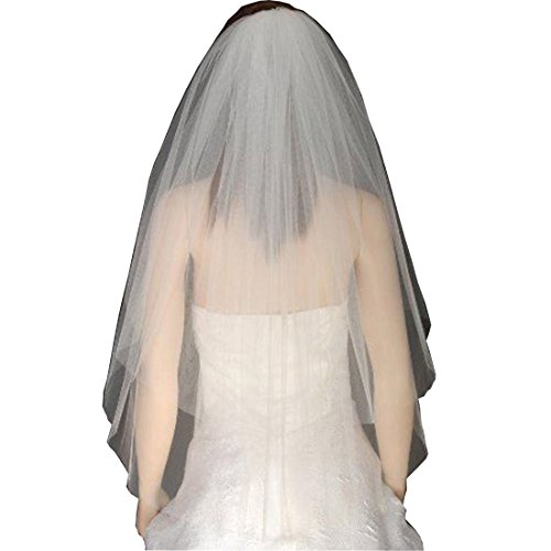Chady 2 layer White Ivory Length Cut Edge Tulle Bridal Elbow Veil wedding with Comb (2 Layer Elbow)
