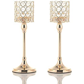 VINCIGANT Gold Crystal Cylinder Candle Holders Set of 2 for Anniversary Celebration Table Centerpieces Christmas Gifts,12 Inches Tall