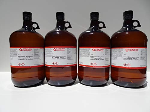Diethyl Ether, Anhydrous, ACS Reagent, ≥99.0%, 4L X 4 (16 Liters Total) Contains BHT as Inhibitor