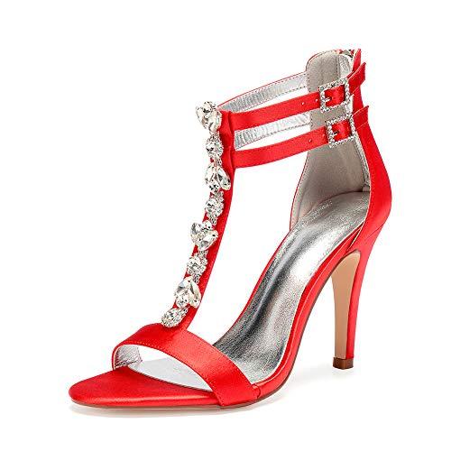 Sandales Satin Mesdames 5 Cm Haut Mariage Éclair Dos Moojm Chaussures Multicolore Sandales Red Fermeture daily fête Talon 10 AzBddx0