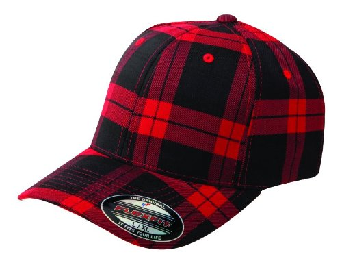 Flexfit Tartan Plaid Black Red Wooly Combed Stretchable Fitted Cap Basecap