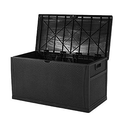 120 Gallon Resin Wicker Patio Storage Box