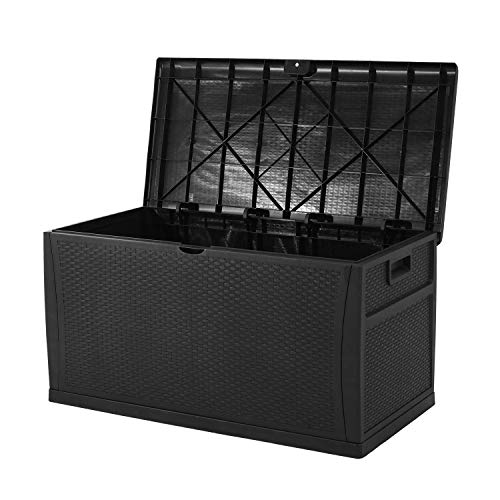 Superday Patio Deck Box Outdoor Storage Decorative Wicker Pattern Garden Furniture Rattan Container Cabinet 120 Gallon Black
