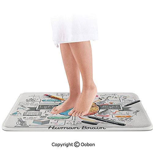 Doodle Bath Mat,Two Sides of Human Brian Analitical Imaginitive Art Educaion Abilities,Plush Bathroom Decor Mat with Non Slip Backing,24 X 17 Inches,Marigold Turquoise Grey -