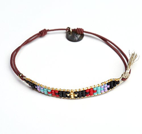 badu-handmade-thin-seed-beads-bracelet-gold-line-multicolor-black
