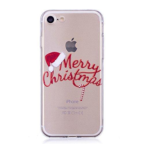 iPhone 7 / 8 Custodia , Moda Merry Christmas Silicone leggero Morbido TPU Sollievo Sottile Protezione Antiurto Copertura Antiscivolo Resistente Coperture Cover Case Custodia per Apple iPhone 7 / 8