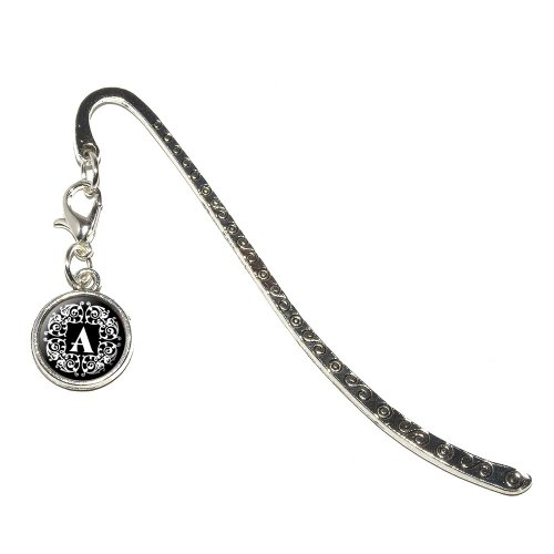 Graphics and More Letter A Initial Black and White Scrolls Metal Bookmark Page Marker with Charm (CHARM_BOOK_0636)
