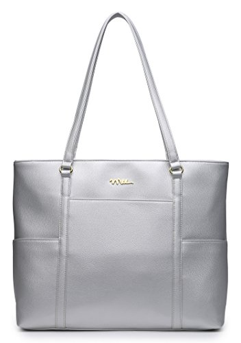 Design Leather Tote Bag (NNEE Classic Laptop Leather Tote Bag for 15 15.6 inch Notebook / MacBook Computers Travel Carrying Bag with Smart Trolley Strap Design - Silver)