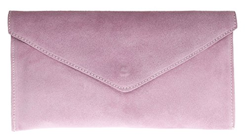 Brand Verapelle Genuine Italian Suede Large Envelope Shaped Clutch bag Purse handbag Rebecca Clutch Party Prom Clutch Light Pink