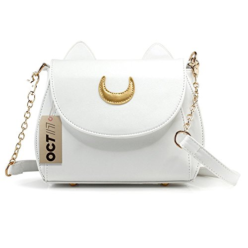 Oct17 Moon Luna Design Purse Kitty Cat satchel shoulder bag Designer Women Handbag Tote PU Leather Girls Teens School Sailer Style (White)