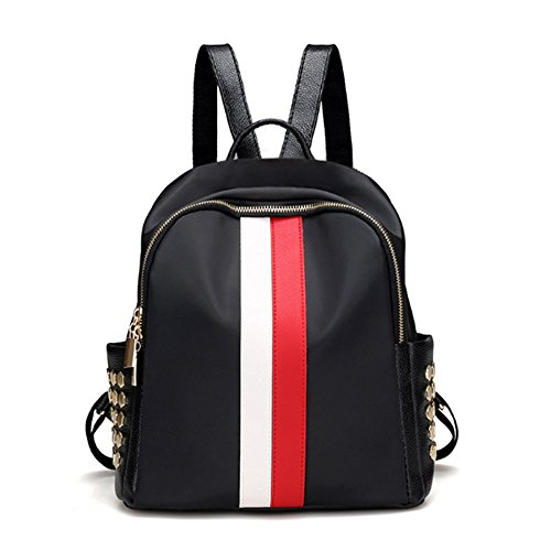 XIN BARLEY Fashion Mini Small Backpack Purse Travel School Day Pack for Women and Girls Oxford Stripe Red and White (Black & White Purse)