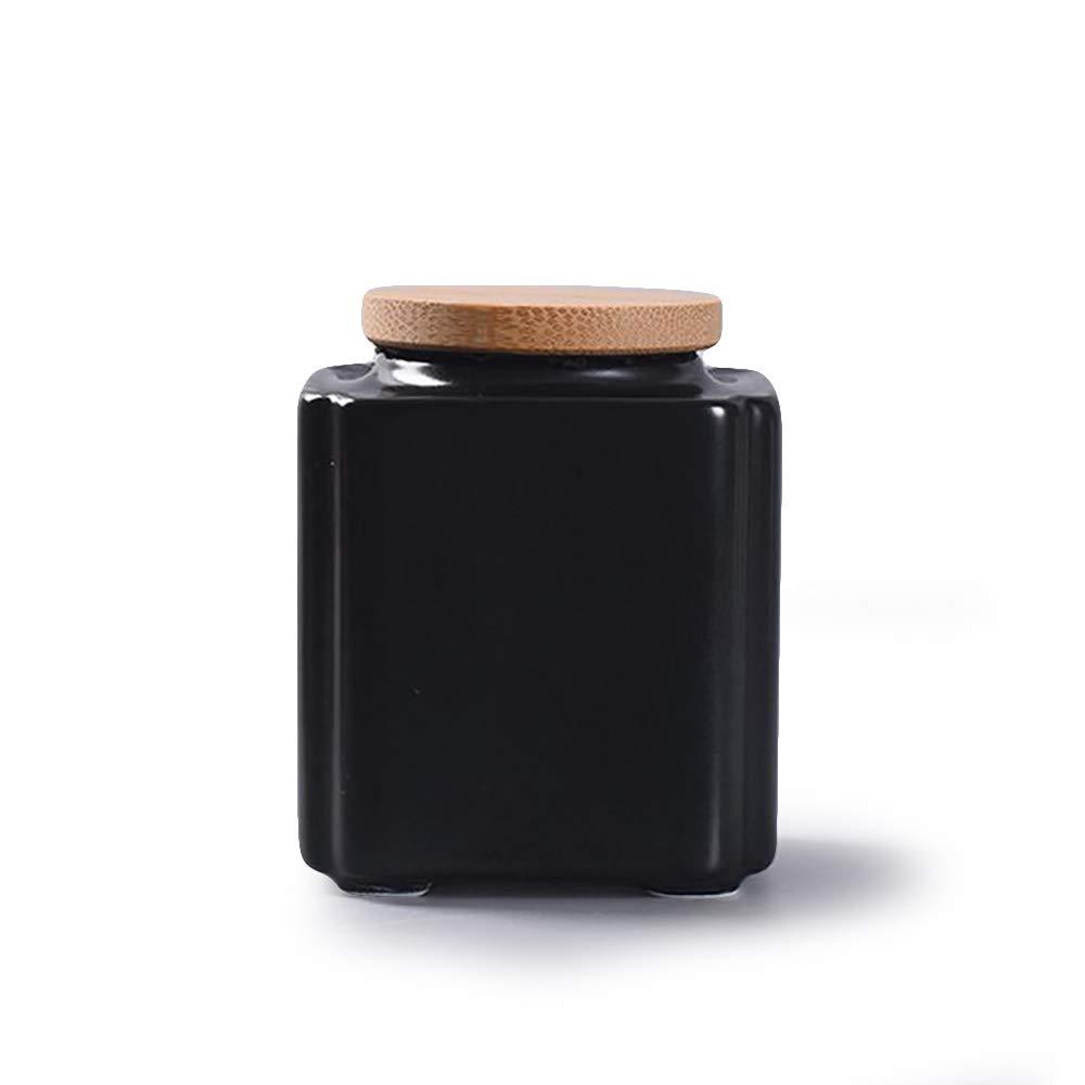 Special Design Oriental Charm Ceramic Jar with Bamboo Lid for Tea Coffee Salt Sugar Seed (black)