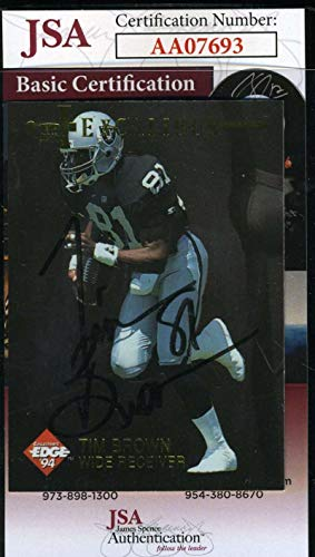(TIM BROWN 1994 Edge Autograph Coa Authentic Hand Signed - JSA Certified - NFL Autographed Football Cards)
