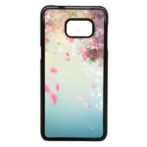 Samsung Galaxy Note 5 Edge Case,Fantastic Pink Petals Fall Pattern Durable Hard Plastic Phone Case,[Flower Series]-Black (Five Petals Rhinestone Flower)