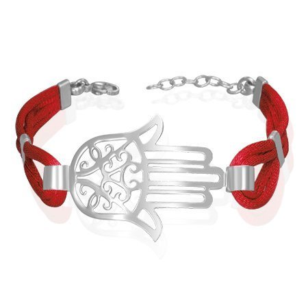 Stainless Steel Silver-Tone Filigree Evil Eye Hamsa Red Cord Womens Bracelet