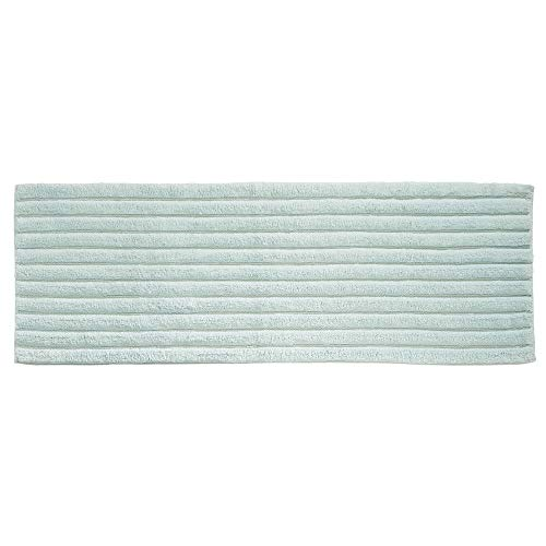 Spa Blue Rug - mDesign Soft 100% Cotton Luxury Hotel-Style Rectangular Spa Mat Rug, Plush Water Absorbent, Ribbed Design - for Bathroom Vanity, Bathtub/Shower, Machine Washable - Long Runner, 60