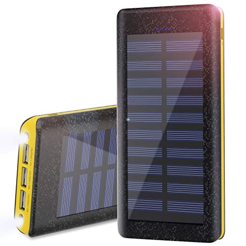 Portable Charger Wiswan Solar Power Bank 24000mAh External Battery with 2A...