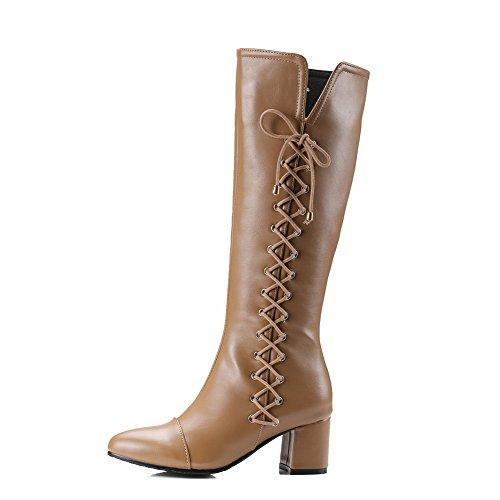 AllhqFashion Damen Rein Mittler Absatz Spitz Zehe Stiefel mit Metallisch Aprikosen Farbe