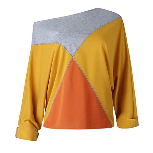T Automne Jaune Top paule Pullover Manches Blouse Fashion Pulls Printemps Longues Oblique ulein Fox Casual Fr et Hauts Shirts Femmes Patchwork 4In7AqCCwR