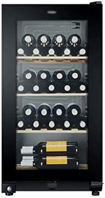 hanzeni Vinoteca 35 Botellas, Volumen De 117litros, 3estantes, Puerta De Vidrio Templado Anti-Ultravioleta/Antihielo,con Cerradura De Puerta De Seguridad