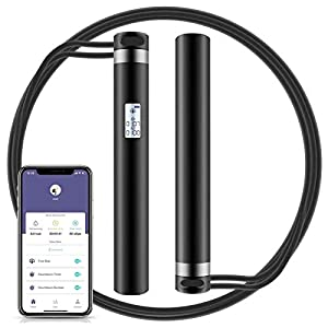 Well-Being-Matters 419pp1vfvtL._SS300_ Jump Rope, Smart Jump Rope with APP Data Analysis, USB Rechargeable Skipping Rope with HD LED Display for Fitness…