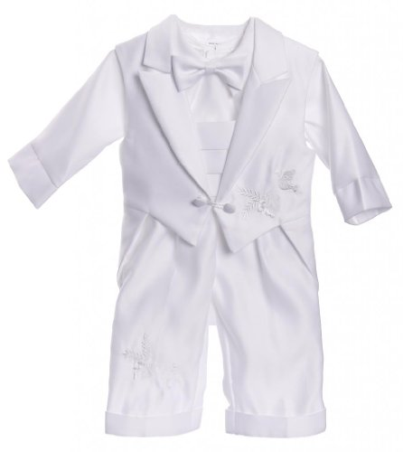 Infant Baby Boys Christening Baptism Outfit With Tail Vest Dove Design Pants Set White