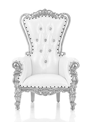 Mini Tiffany Kids Birthday Throne Chair for Children - Prince/Princess Throne Chair for Kids - Party Chair Rentals, Children Photo Shoots, Home Furniture - Silver Finish - 37