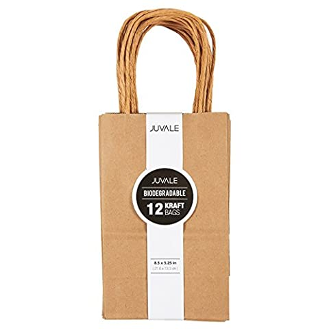 Brown Kraft Bag, Birthday Party Gift Favor Bag Set - 12 Count - Small - Party Gift Bag