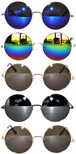Bulk of 5 Pairs Round Lens Sunglasses Metal Frame Retro Circle Colored Tint Hippie Hipster Vintage Spring - Hipster Circle Glasses