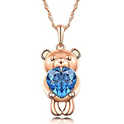 White Yellow Rose Gold Blue Topaz Pendant