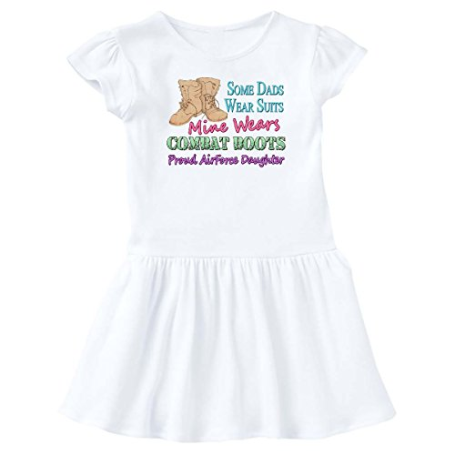 - inktastic - Daddy's Boots Air Force Daughter Infant Dress 12 Months White 442e