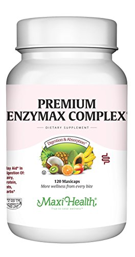 Maxi Health Premium Enzymax Complex Digestive Enzymes Aids Dairy & Fats, 120 Count