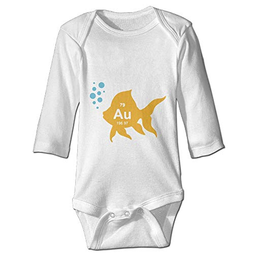 (PUREYS-I Printed Periodic Table Elemental Gold Fish Funny Baby Girls Long Sleeves Bodysuit Outfits Clothes)
