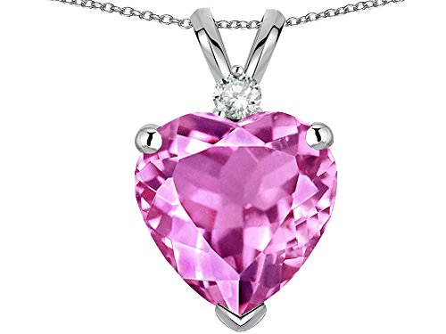 Star K 8mm Heart Shape Created Pink Sapphire Heart Pendant Necklace 14 kt White Gold (Created Pink Sapphire Heart Pendant)